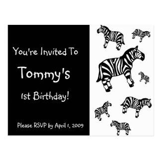 Customized Zebra Party Invitations Postcards