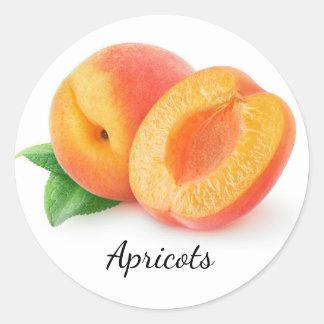 Cut apricots round sticker