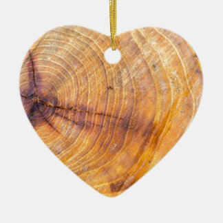 Cut down a tree with annual rings ceramic heart decoration