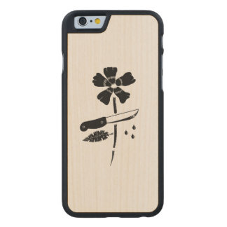 Cut flower carved maple iPhone 6 case