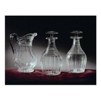 Cut glass decanters and jug, c.1840 postcard