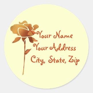 Cut golden rose name address label stickers