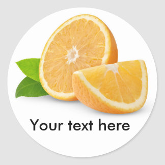 Cut orange fruits round sticker