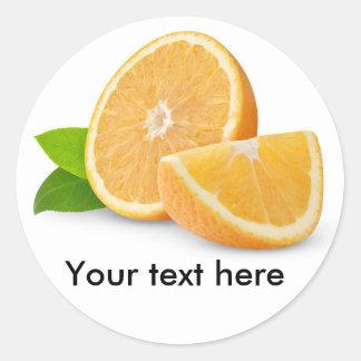Cut orange fruits round sticker