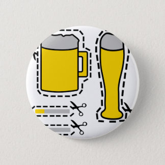 cut out beer and cigarets 6 cm round badge