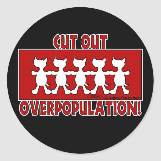 Cut Out Overpopulation! Dogs Round Sticker