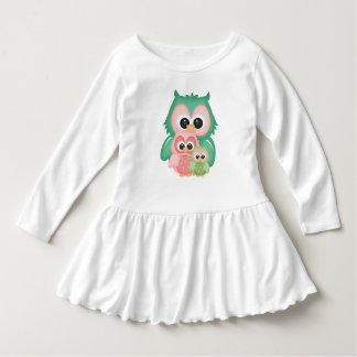 Cut Owls Branch Pink Mint Green Birds Dress