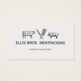 Cut Pig and Cow, Knife Cleaver Logo Business Card
