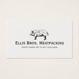 Cut Pig Diagram Butcher Shop Business Card