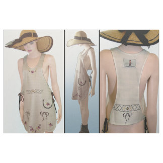 Cut & Sew Fashion- Vintage embroiderd APRON tan Fabric
