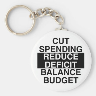 cut spending, reduce deficit, balance budget basic round button key ring