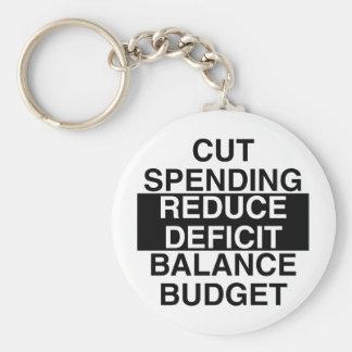 cut spending, reduce deficit, balance budget keychain