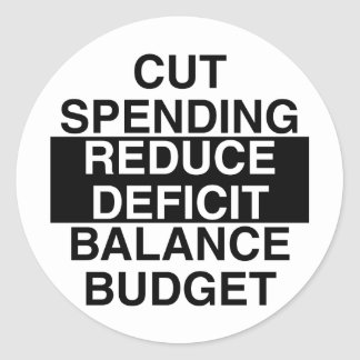 cut spending, reduce deficit, balance budget round sticker