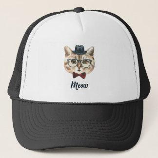 Cut Vintage Hipster Cat Kitten Saying Meow Trucker Hat