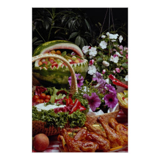 Cut watermelon fruit basket with flowers poster