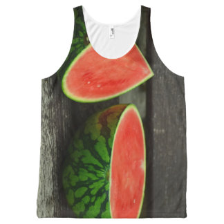 Cut Watermelon on Rustic Wood Background All-Over Print Tank Top