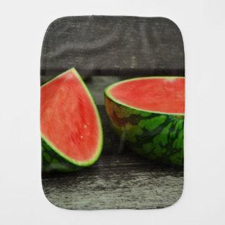 Cut Watermelon on Rustic Wood Background Burp Cloth