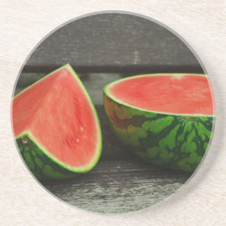 Cut Watermelon on Rustic Wood Background Coaster
