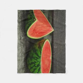 Cut Watermelon on Rustic Wood Background Fleece Blanket