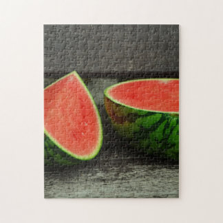 Cut Watermelon on Rustic Wood Background Jigsaw Puzzle
