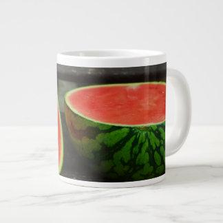 Cut Watermelon on Rustic Wood Background Large Coffee Mug