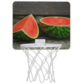 Cut Watermelon on Rustic Wood Background Mini Basketball Hoop