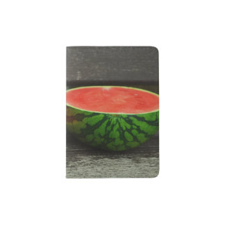 Cut Watermelon on Rustic Wood Background Passport Holder