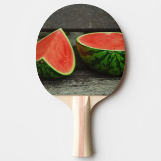 Cut Watermelon on Rustic Wood Background Ping Pong Paddle