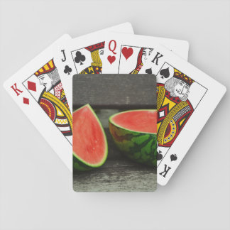 Cut Watermelon on Rustic Wood Background Playing Cards