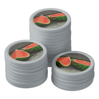 Cut Watermelon on Rustic Wood Background Poker Chips