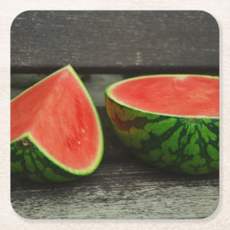 Cut Watermelon on Rustic Wood Background Square Paper Coaster