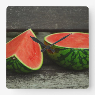 Cut Watermelon on Rustic Wood Background Square Wall Clock