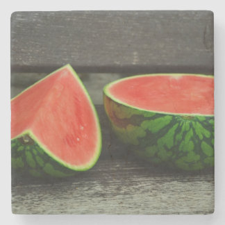 Cut Watermelon on Rustic Wood Background Stone Coaster