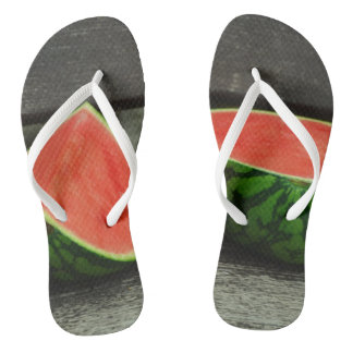 Cut Watermelon on Rustic Wood Background Thongs