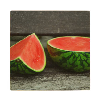 Cut Watermelon on Rustic Wood Background Wood Coaster