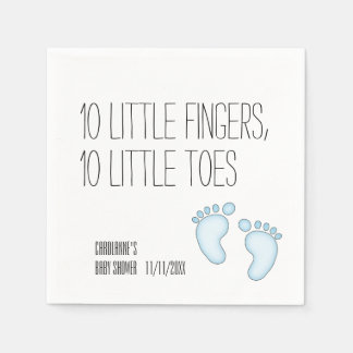 Cute 10 Little Toes Baby Shower Napkins - Blue Paper Napkin