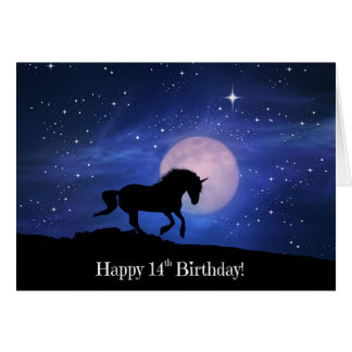 Cute 14th Birthday Unicorn Card