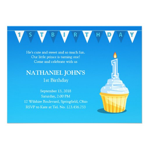 Cute 1st Birthday Cupcake Party - Baby Boy Invites