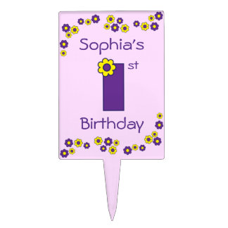 Cute 1st Birthday in Flores Purple Cake Topper