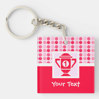 Cute 1st Place Trophy Double-Sided Square Acrylic Key Ring
