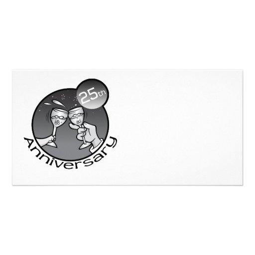 """Cute, """"25th Anniversary"""" design Photo Greeting Card"""