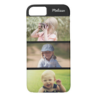 Cute 3 Photo Personalized Kids iPhone 8 7 Case