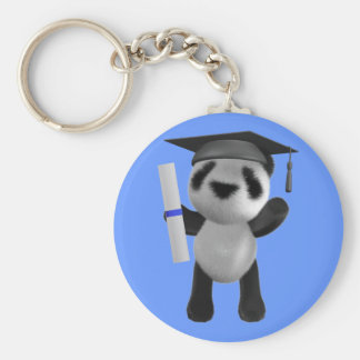 Cute 3d Baby Panda Graduate (editable) Basic Round Button Key Ring