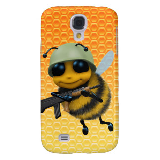 Cute 3d Bee Soldier Honeycomb background Samsung Galaxy S4 Cover