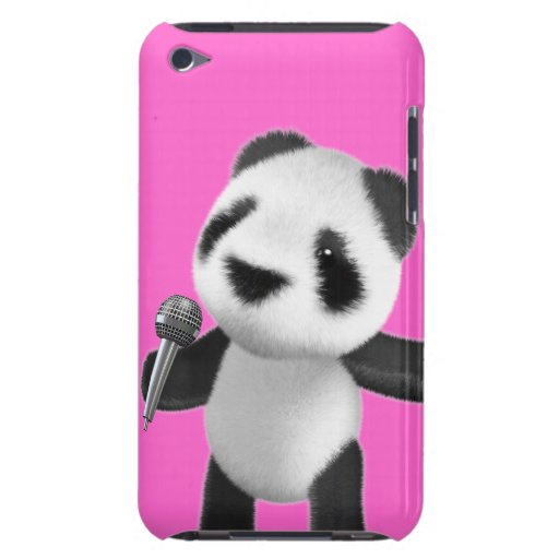 Cute 3d Panda Sings with a Mic (editable) Barely There iPod Covers