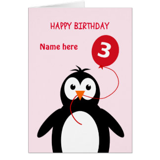 Cute 3rd birthday penguin add name pink card