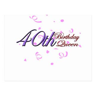 """Cute, """"40th Birthday Queen"""" design Post Card"""