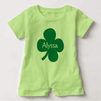 Cute 4 Leaf Clover Personalized St Patricks Day Baby Bodysuit