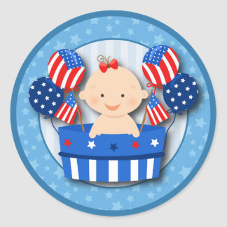 Cute 4th of July Patriotic Baby Girl Baby Shower Round Stickers