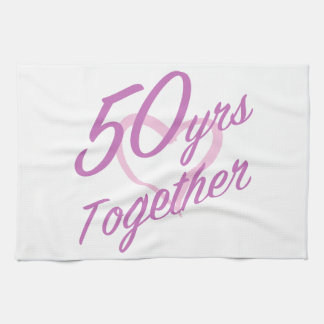 Cute 50th Anniversary Tea Towel